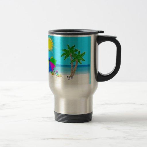 Taza personalizada playa tropical del viaje del ca