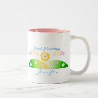 Taza personalizada sol del desayuno de la buena ma
