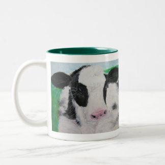 Taza, pintura de acrílico del becerro de la vaca taza dos tonos