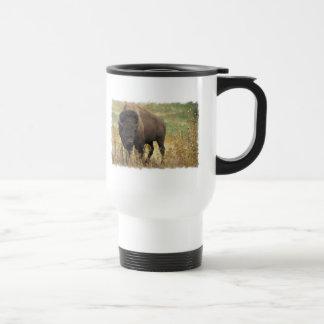 Taza plástica del viaje del bisonte de madera