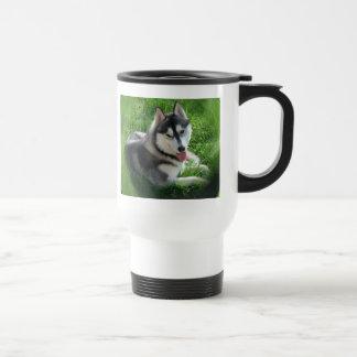Taza plástica del viaje del perro del husky siberi
