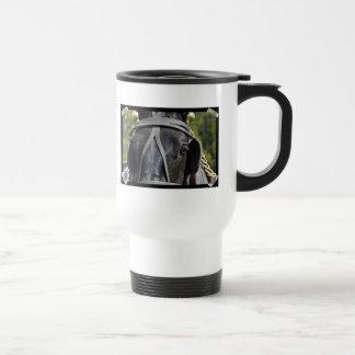Taza plástica negra del viaje del caballo de proye