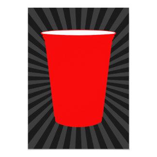 """taza plástica roja invitación 5"""" x 7"""""""