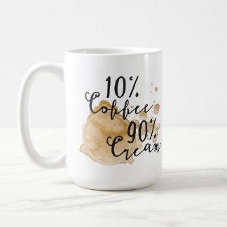 Taza poner crema del café el 90% del 10%