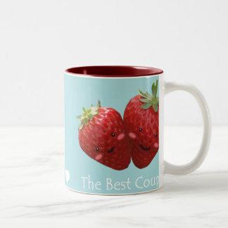 Taza preciosa de los pares de la fresa
