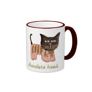 Taza principal del gato del chocolate