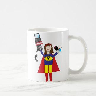 Taza profesional administrativa del superhéroe