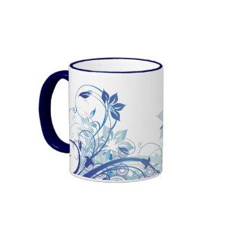Taza prosperada azul de las flores - 1