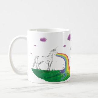 Taza puking del unicornio del arco iris fabuloso