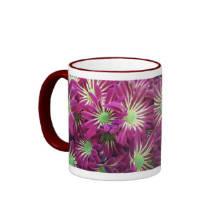 Taza púrpura abigarrada de la flor del aster
