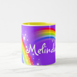 Taza púrpura conocida de encargo del arco iris de
