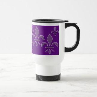 Taza púrpura de la flor de lis, taza del viaje, ce