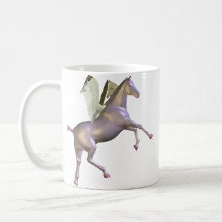 Taza púrpura de Pegaso que se alza