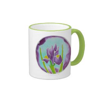 Taza púrpura del campanero del verde del arte del