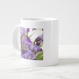 Taza púrpura del jumbo del iris taza grande