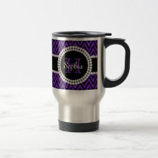 Taza púrpura del viaje del monograma de los