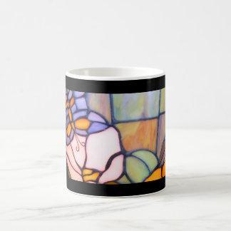 Taza púrpura del vitral de la mariposa del vintage