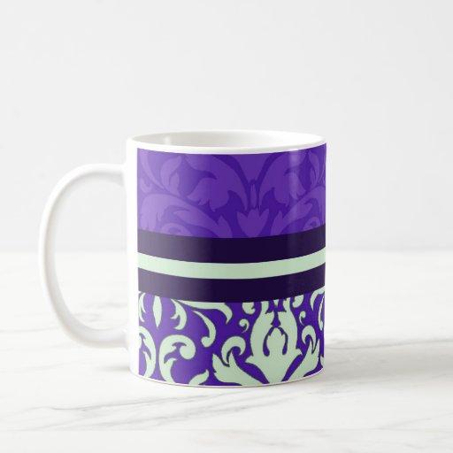 Taza púrpura floral de lujo del damasco