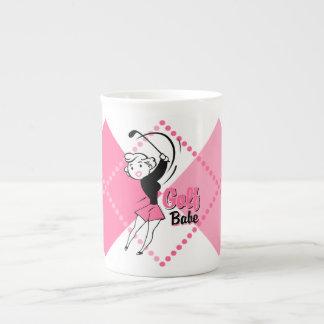 Taza retra de la especialidad del bebé del golf taza de porcelana