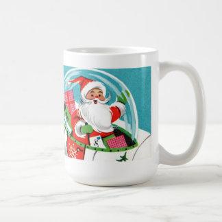 Taza retra del navidad de Santa de la nave espacia
