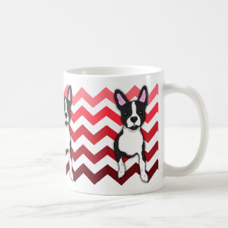 Taza roja caprichosa de Boston Terrier Chevron