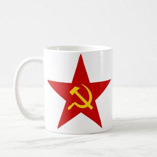 Taza roja de la estrella (martillo y hoz)