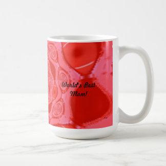 Taza roja de la flor de la mejor mamá del mundo