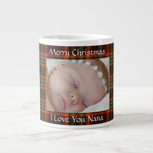 Taza roja de la foto de la tela escocesa del tazas extra grande