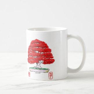 Taza roja de los bonsais del arce japonés