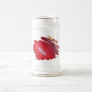 Taza roja de Stein de la cerveza de los espirales