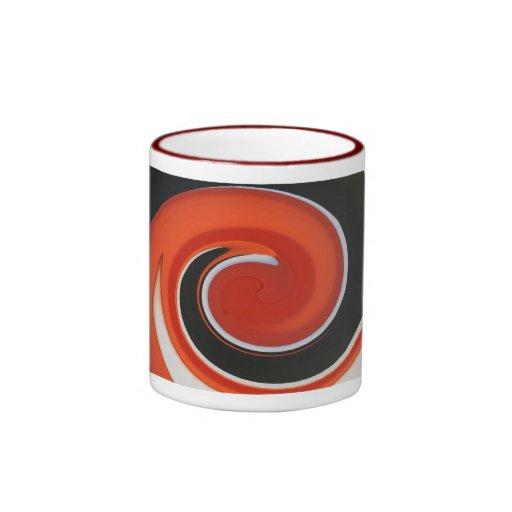 Taza roja del arte abstracto del remolino