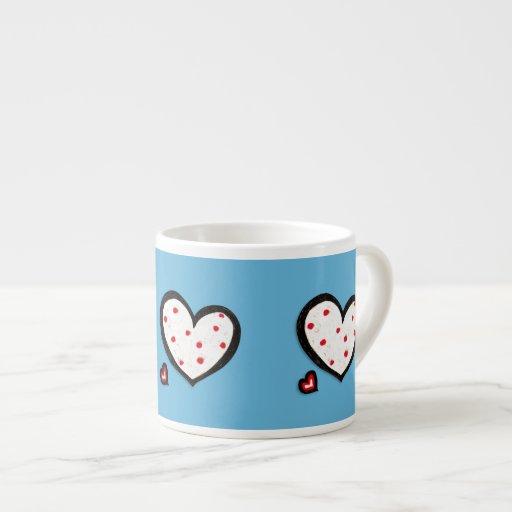 Taza roja del café express de la turquesa manchada taza espresso