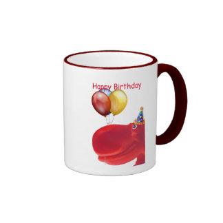 Taza roja del cumpleaños del hipopótamo feliz