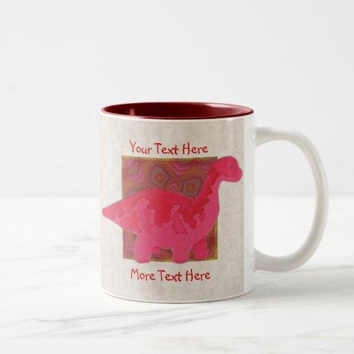 Taza roja del dinosaurio