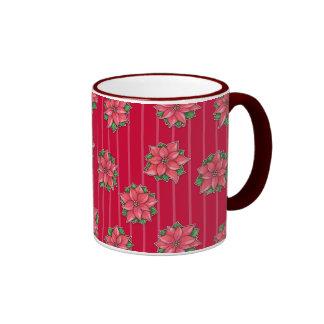 Taza roja del modelo de la alegría del Poinsettia