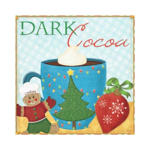 Taza roja del navidad con cacao cremoso lona envuelta para galerías