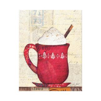 Taza roja del navidad lienzo envuelto para galerías