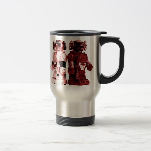 taza roja del viaje de los robots