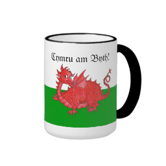 Taza roja linda adaptable del campanero del dragón