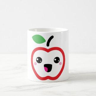 Taza roja linda de la manzana del kawaii