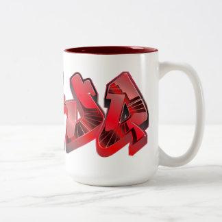 Taza roja tóxica de la pintada de Dafuq