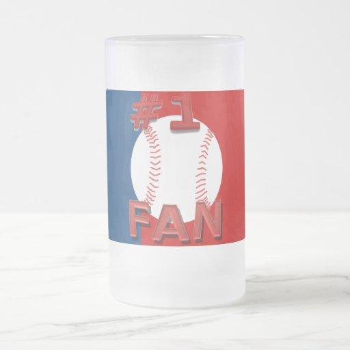 Taza roja y azul del aficionado al béisbol #1
