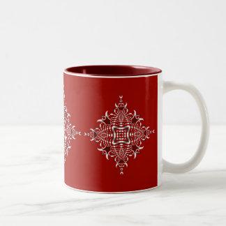 Taza roja y blanca del emblema del fractal