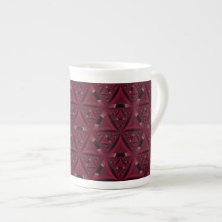 Taza roja y negra de la porcelana de hueso del tri tazas de porcelana