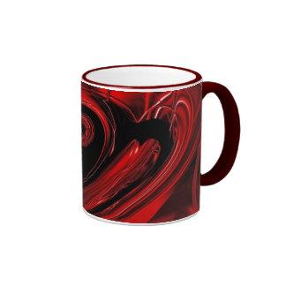 Taza roja y negra del campanero del arte pop de la