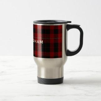Taza roja y negra elegante de la tela escocesa de