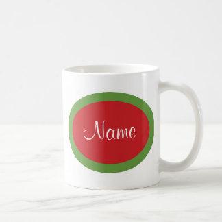Taza roja y verde personalizada del navidad
