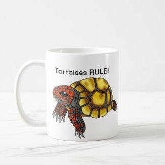 Taza Rojo-Con base de la tortuga de la