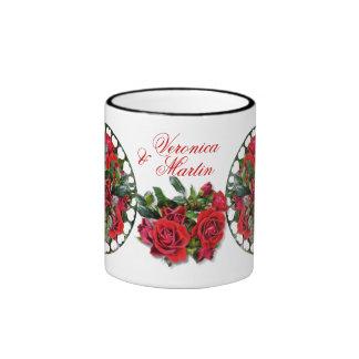 Taza romántica del campanero del ~ de los rosas