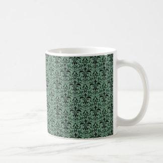 Taza romántica del damasco, verde del trébol